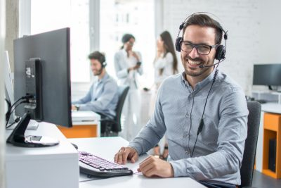 Man on a call using the headset